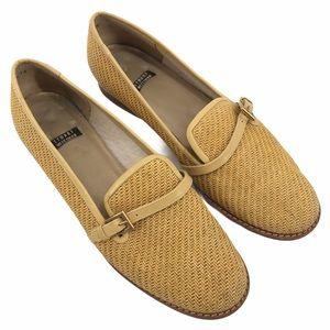 Vintage Stuart Weitzman Golden Straw Loafers 8AA